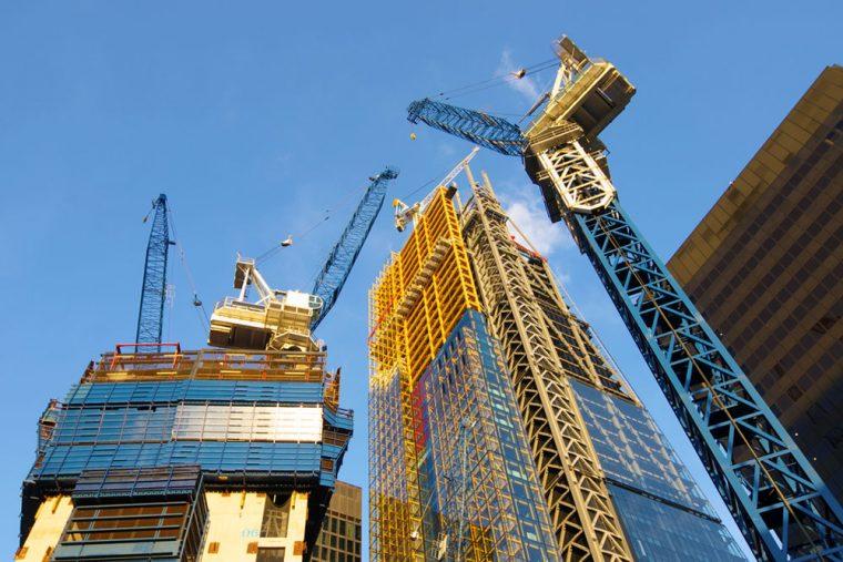 tower block and crane